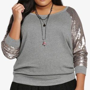 torrid grey sweater with gold sequin sleeves